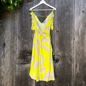 Meghan LA boho yellow should shoulder wrap dress